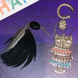 Single Earrings Mismatched , owl & feather vintage